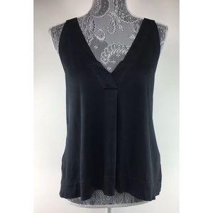Madewell Womens M Black Double Vneck Shirt Top